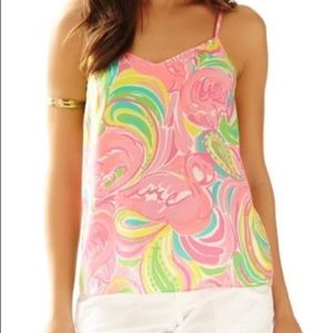 Lilly Pulitzer XXS Dusk Silk Top multi all nighter